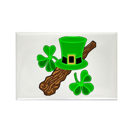 Leprechaun Hat and Shillelagh Rectangle Magnet (10