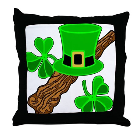 Leprechaun Hat and Shillelagh Throw Pillow