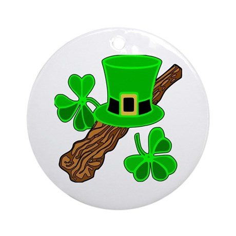 Leprechaun Hat and Shillelagh Ornament (Round)