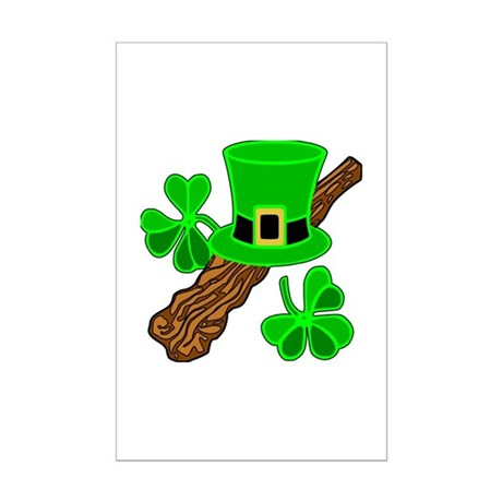 Leprechaun Hat and Shillelagh Mini Poster Print