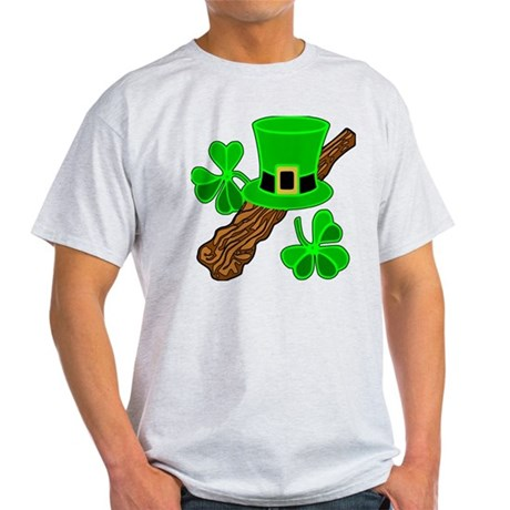 Leprechaun Hat and Shillelagh Light T-Shirt