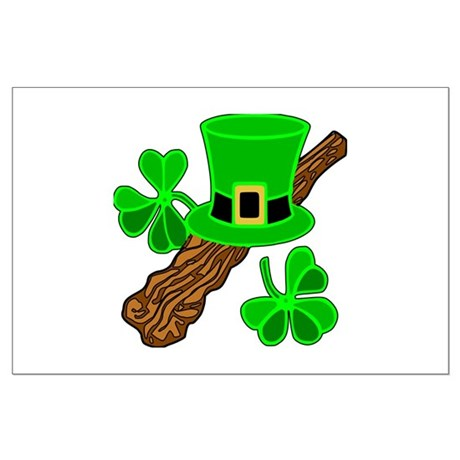 Leprechaun Hat and Shillelagh Large Poster