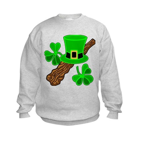 Leprechaun Hat and Shillelagh Kids Sweatshirt