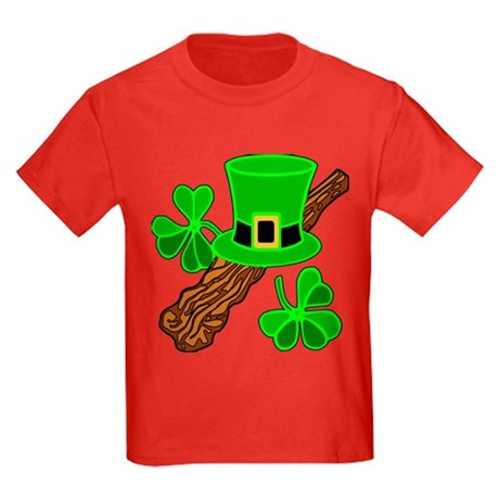 Leprechaun Hat and Shillelagh Kids Dark T-Shirt
