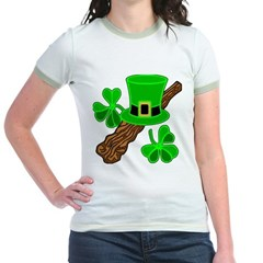 Leprechaun Hat and Shillelagh Jr. Ringer T-Shirt