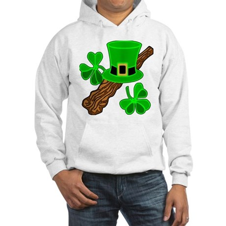 Leprechaun Hat and Shillelagh Hooded Sweatshirt