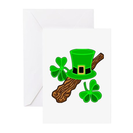 Leprechaun Hat and Shillelagh Greeting Cards (Pk o