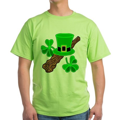 Leprechaun Hat and Shillelagh Green T-Shirt