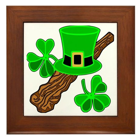 Leprechaun Hat and Shillelagh Framed Tile