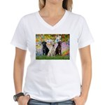 Monet's Garden & Lab Trio Women's V-Neck T-Shirt