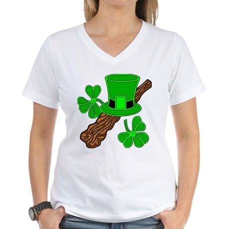 Leprechaun Hat and Shillelagh Women's V-Neck T-Shi