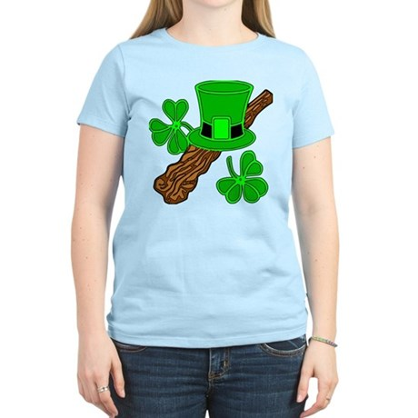 Leprechaun Hat and Shillelagh Women's Light T-Shir
