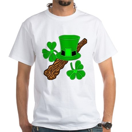 Leprechaun Hat and Shillelagh White T-Shirt