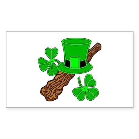 Leprechaun Hat and Shillelagh Sticker (Rectangular