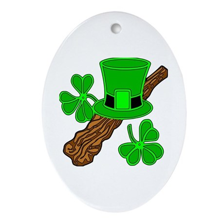 Leprechaun Hat and Shillelagh Oval Ornament