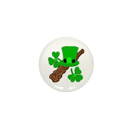 Leprechaun Hat and Shillelagh Mini Button (100 pac