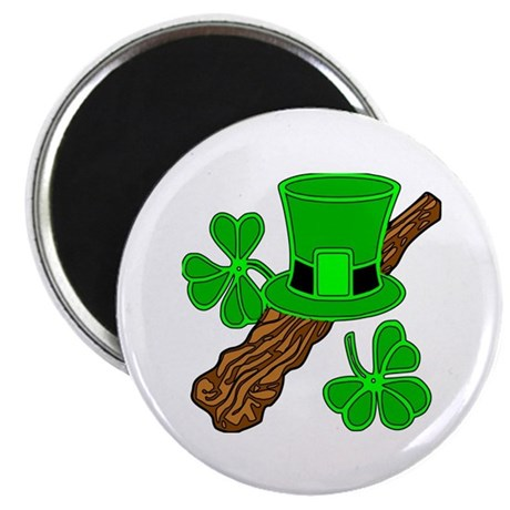 "Leprechaun Hat and Shillelagh 2.25"" Magnet (100 pa"