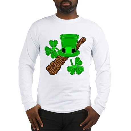 Leprechaun Hat and Shillelagh Long Sleeve T-Shirt