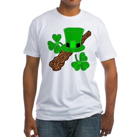 Leprechaun Hat and Shillelagh Fitted T-Shirt