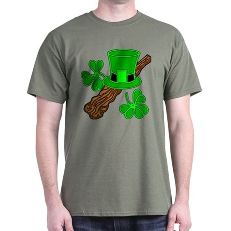 Leprechaun Hat and Shillelagh Dark T-Shirt