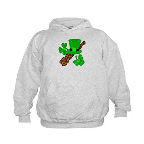 Leprechaun Hat and Shillelagh Kids Hoodie
