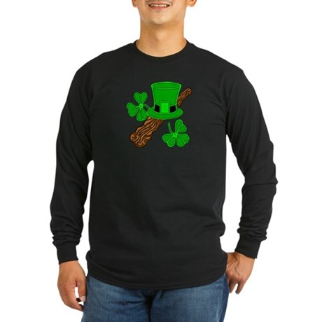 Leprechaun Hat and Shillelagh Long Sleeve Dark T-S
