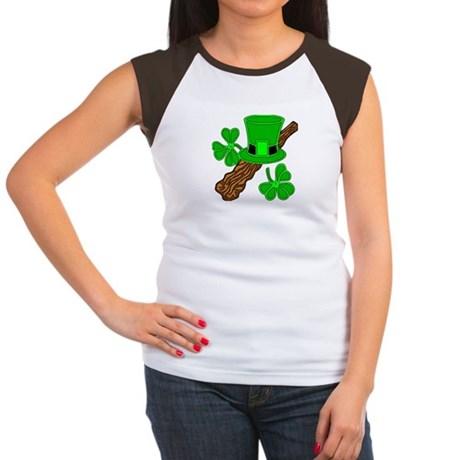 Leprechaun Hat and Shillelagh Women's Cap Sleeve T