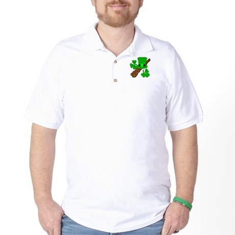 Leprechaun Hat and Shillelagh Golf Shirt