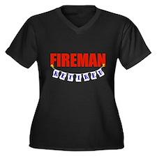 Retired Fireman Women's Plus Size V-Neck Dark T-Sh