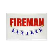 Retired Fireman Rectangle Magnet