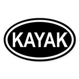 KAYAK Paddling Euro Oval Decal