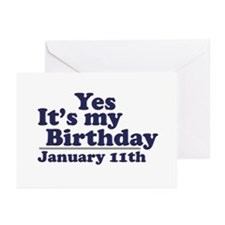 January 11th Birthday Greeting Cards (Pk of 20)
