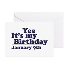 January 9th Birthday Greeting Cards (Pk of 10)