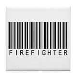Firefighter Barcode Tile Coaster