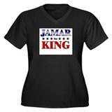 JAMAR for king Women's Plus Size V-Neck Dark T-Shi