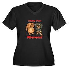 Two Wieners Women's Plus Size V-Neck Dark T-Shirt