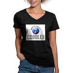 World's Coolest COBBLER Women's V-Neck Dark T-Shir