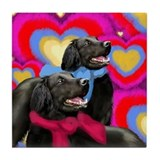 FLAT COATED RETRIEVER DOGS VALENTINE Tile Coaster