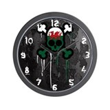 Welsh Punk Skull Wall Clock