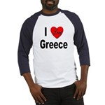 I Love Greece (Front) Baseball Jersey