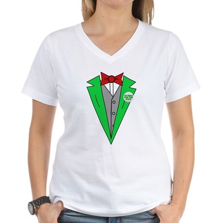 Irish Tuxedo T-Shirt Womens V-Neck T-Shirt