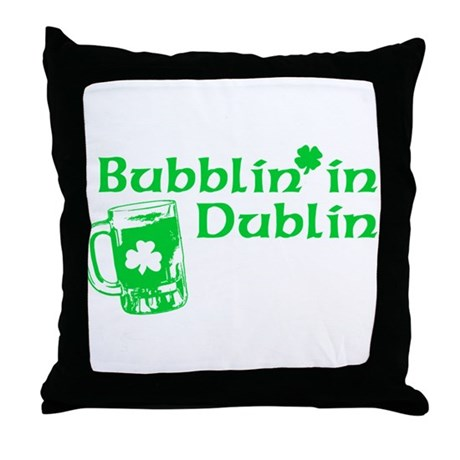 Bubblin' in Dublin Throw Pillow