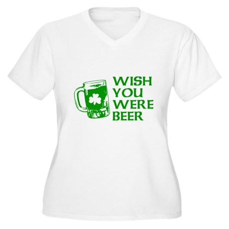 Wish You Were Beer Womens Plus Size V-Neck T-Shir