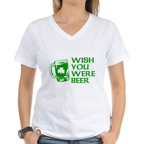 Wish You Were Beer Womens V-Neck T-Shirt