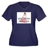 Maldivan Princess Women's Plus Size V-Neck Dark T-