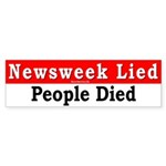 Bumper Sticker: Newsweek Lied, People Died