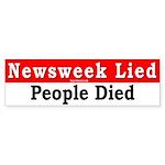 Bumper Sticker: Newsweek Lied, People Died