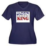 JADEN for king Women's Plus Size V-Neck Dark T-Shi