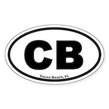 "Cocoa Beach, FL ""CB"" Euro Style Oval Decal"