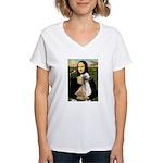 Mona Lisa (new) & Saluki Women's V-Neck T-Shirt